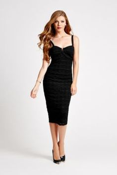 Crochet Overlay Body-Con Dress | GUESS.com