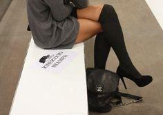 grey dress black socks and shoes