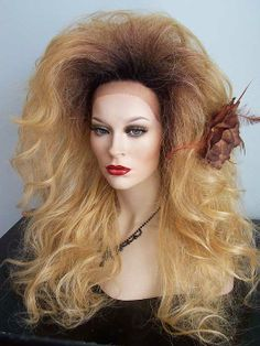 Drag Queen Wig, Lace Front, Long Dark Rooted to Golden Blonde. Teased Out Curls