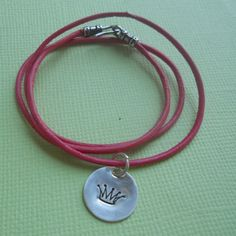 PRINCESS PINK - Sterling Silver Hand-Stamped Charm Bracelet with Pink Leather. $29.00, via Etsy.