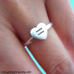 Same sex marriage support ring - Equal Love Heart ring