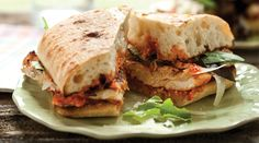 grilled chicken ciabatta with romesco sauce and baby greens