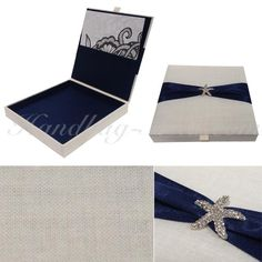 Linen Box For Wedding Invitation Cards. perfect for beach themed wedding or simply nature themed events. Also a great birthday invitation box for boys!