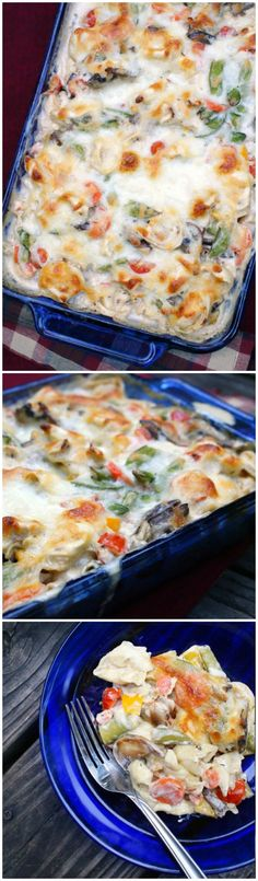 Tortellini and Garden Vegetable Bake is chock-full of fresh vegetables like sugar snap peas, cherry tomatoes, carrots and sweet bell peppers all baked alongside cheese-filled tortellini in a creamy mushroom sauce.
