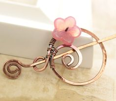 Handmade penannular copper shawl pin or scarf pin by IngoDesign, $27.00