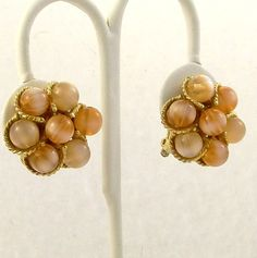 Vintage 1960s Earrings Moon Bead Melon Mad Men Clip Ons by Revvie1, $8.00