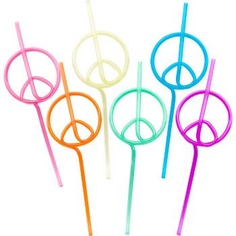 Peace Sign Straw (12-pack) - Party Favors & Party Supplies