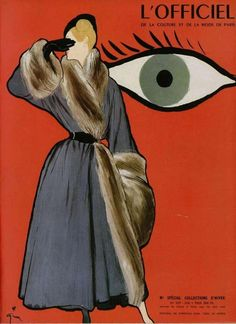 Fur lined coat by Christian Dior, illustrated by René Gruau, Sept. 1947