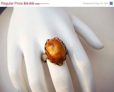 Ring Sale Vintage Adjustable Gold Toned Ring by PaganCellarJewelry, $7.99
