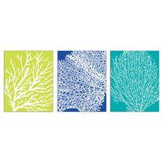 sea coral bathroom prints