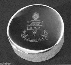 Alpha Chi Omega Sorority Engraved Crest Silver Plate Small Jewelry Box/Pin Box available in Good Things From Louisiana, an ebay store.
