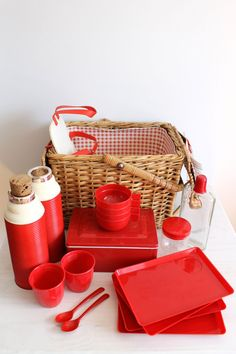 Vintage Picnic Basket Set - Plates, cups, thermos, forks, knifes on Etsy, $73.37
