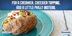 For a creamier topping on your baked potato, add Philly Cream Cheese instead of butter, then toss on a few chives and bacon bits. #dinner