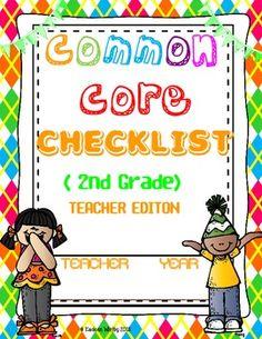 COMMON CORE CHECKLIST ELA AND MATH 2ND GRADE BACK TO SCHOOL
