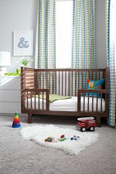 casual... grey nursery, wood crib
