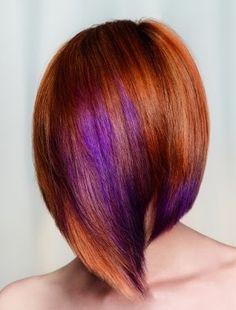A medium red straight coloured purple Multi-Tonal hairstyle