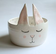 Charles the rabbit  sweet bowl with polka dot by clayopera on Etsy, $35.00