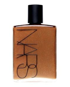 NARS Body Glow.  The best bronzing oil.  I smooth this on my legs everyday in the summer.    It is light and shimmery and makes your legs look perfect!