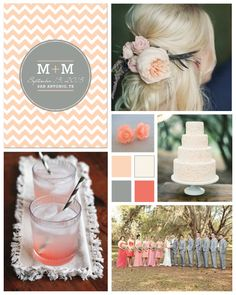 Coral and Grey Wedding Inspiration Board by papersnaps.com