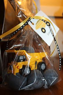 favors construction party.  the rocks are play dough construct parti, construction party favors, digger birthday, birthday parties, rock, play dough, parti idea, kid, construct birthday
