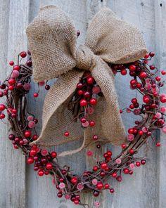 Rustic Burlap & Red Berries Heart