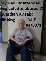 My dad, asleep, in a wheelchair, WITHOUT SECURITY BELTS, tortured beyond exhaustion! This was taken at the Guardian Angels Nursing Home in Hibbing MN. and following numerous IGNORED, request by me, for him to be placed in bed! https://www.facebook.com/events/492456287502725/