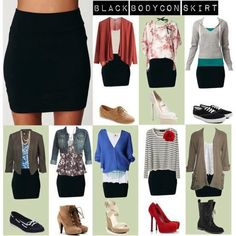 Sweet ideas for a simple black skirt, Pinning for use the next time I wear my black mini skirt! :)