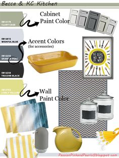 Yellow and Gray Kitchen Concept Board