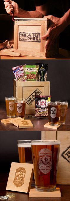 Awesome gift for him this Valentine's Day. Personalized beer glasses! #ManCrates