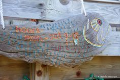 Driftwood sign in a restaurant on Exumas, Bahamas.