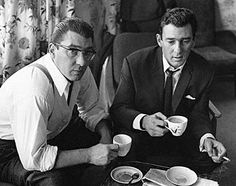 British gangsters The Kray Twins enjoying a nice cup of tea