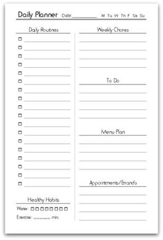 Free Printable Half-Size Daily Planner | Contented at Home