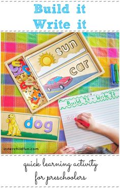 Quick Learning Activity for Preschoolers - Build it! Write It!