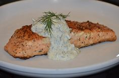 Yummy Baked #Salmon with Caper Sauce.  Click for Recipe