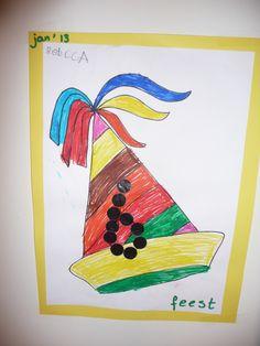 Map juf Ineke; feest. De kinderen kleuren de feestmuts in en plakken met plakcirkels hun leeftijd erop.