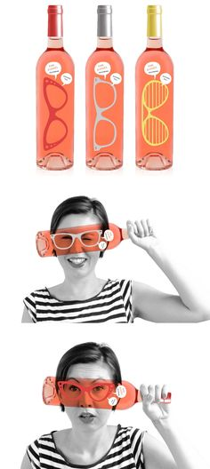 Pink Glasses wine package designed by Luksemburk #wine Gives a whole new meaning to rose colored glasses or wine goggles :)