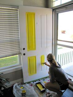 how to paint a front door - yellow front door
