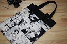 black white comic print large diaper bag/  large tote by leyyabags, $45.00