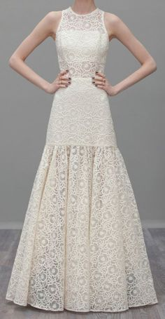 What a beautiful ivory eyelet gown by ALEXIS