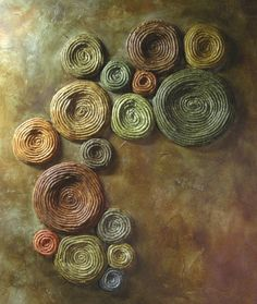 Tree Lichen Painting  Abstract Mixed Media by cathysavelspaintings, $720.00