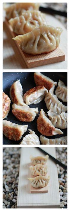 Gyoza or pan-fried Japanese dumplings. Gyozas are easier to make than ...