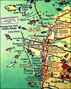 Anna Maria Island vintage map print