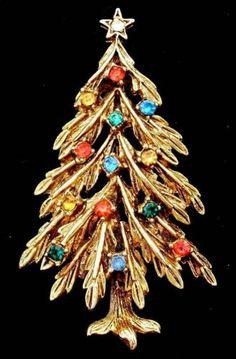 Art Christmas Tree Vintage Pin Multi Colored Rhinestone Star Signed Brooch | eBay