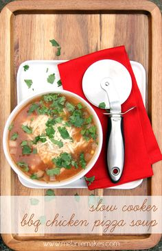 Slow Cooker BBQ Chicken Pizza Soup | @Melanie Bauer Bauer at Melanie Makes #slowcooker #crockpot #soup #BBQ #chicken #pizza #delicious #cilantro #cheese #recipe #food