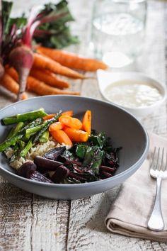 brown rice and veggie bowls with lemon tahini dressing! Eat Live Run