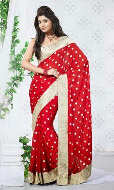 USD 81.96 Red Silk Party Wear Saree 29341