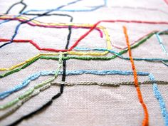 Large London Tube Embroidered Map, 8x10. $40.00, via Etsy.