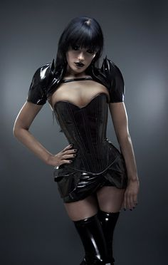 PVC fetish couture by Artifice. I want the shoulder shrug so bad!