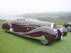 This is a Bugatti with a coach built body by Figoni et Falaschi, a fellow french car company famous for their deco designs.