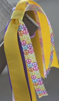 Purple and Yellow Streamer Bow Peace Sign Bow Purple by bowsforme, $6.00